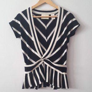 ANTHROPOLOGIE Guinevere Stripe Soft V-Neck Sweater
